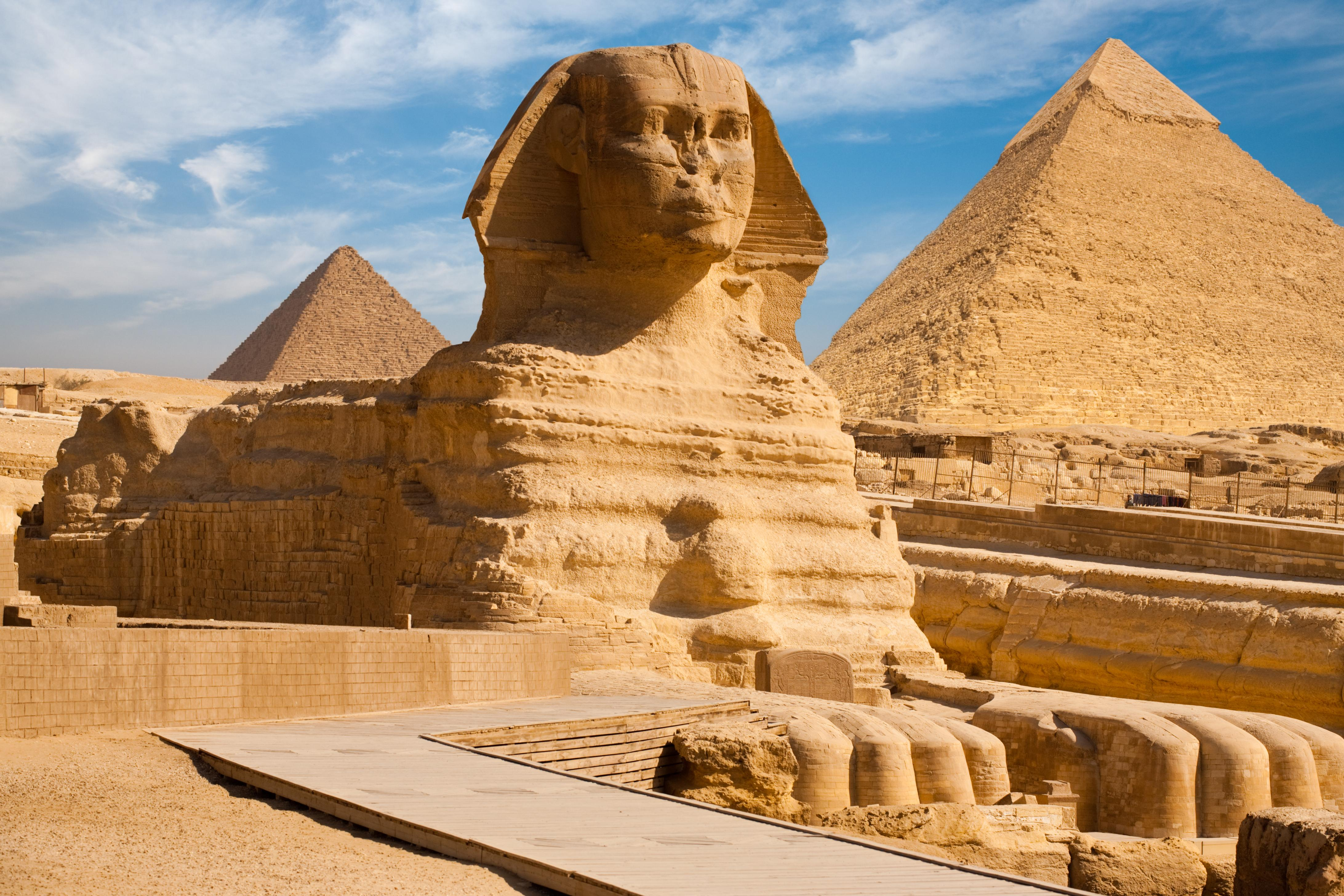 Pyramids of Giza with the Sphinx in the foreground
