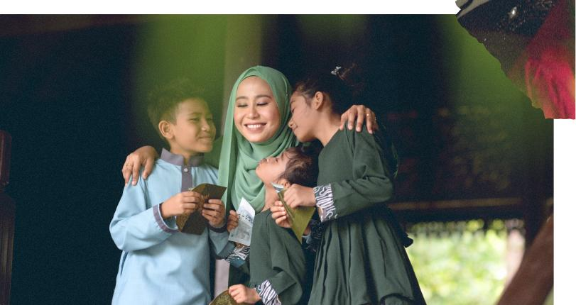 Woman celebrating with children after presenting them with Eidi